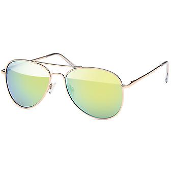 Bling metal mirrored sunglasses - pilot gold / yellow