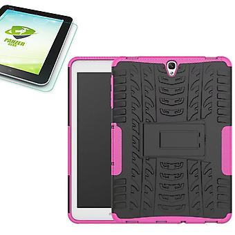 Hybrid outdoor bag Pink for Samsung Galaxy tab S3 9.7 T820 T825 2017 + 0.4 tempered glass