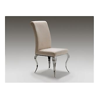 Schuller Barroque Polished Steel And Beige Leather Dining Chair
