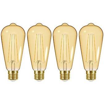 4 X Energizer LED ST64 Energy Saving Lightbulb ES/E27 470lm Warm White[Energy Class A+]