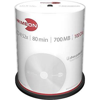 Primeon 2761103 Blank CD-R 80 700 MB 100 pc(s) Spindle Silver matte surface