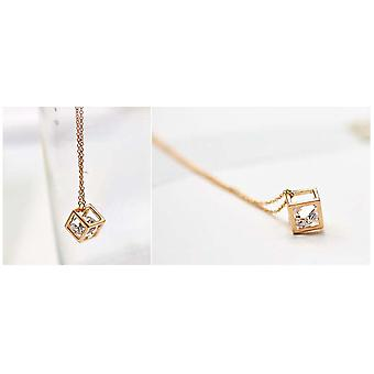 Gold Precious Gem in a Cube Necklace