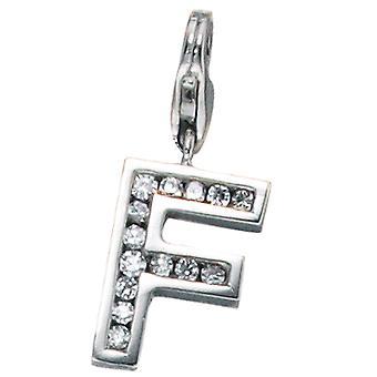 Enkelt øredobber-925 /-s F sjarm sølv F bokstaven F anheng