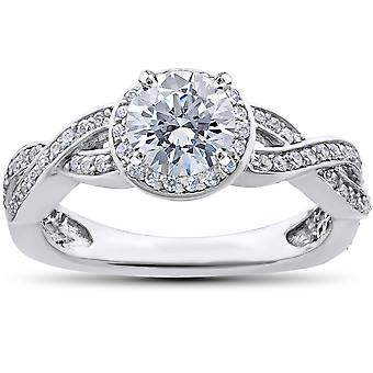 7 / 8ct Halo Pave Diamond Engagement infini Vintage bague 14K or blanc