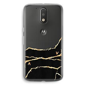 Motorola Moto G4/G4 Plus Transparent fodral (Soft) - guld marmor