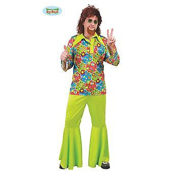 Costume de hippie Guirca avec icônes colorées pour soirée à thème vert Carnaval hommes Woodstock