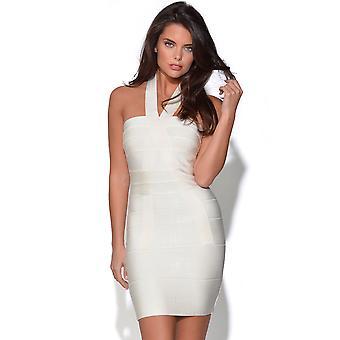 Blanco Atado al cuello del vestido del vendaje