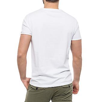 Wrangler Mens Ringer Retro Vintage Crewneck Short Sleeve Tee T-Shirt Top - White