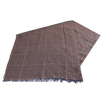 バサンと茶色の Atteveld 大規模なチェックのウールのスカーフ - ブラウン