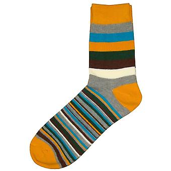 Bassin and Brown Medium and Thin Stripe Midcalf Socks - Gold/Grey/Blue