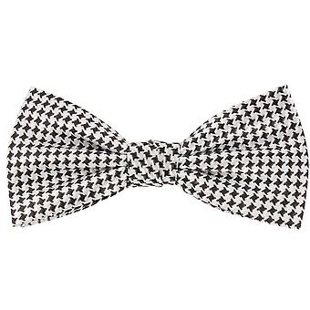 Knightsbridge Neckwear Dogtooth Checked Silk Bow Tie - Black/White