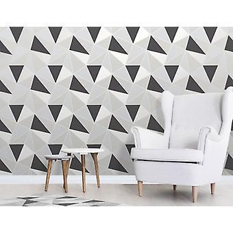 Décoration de mur papier peint argent noir élégant Apex Geo flanc 0,52 x 10,05 m