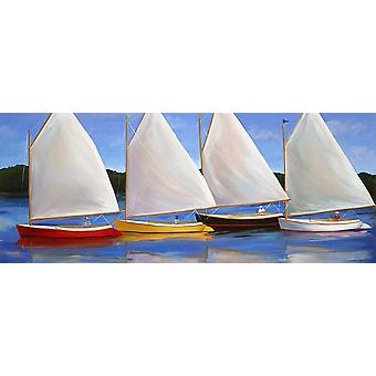 Colored Catboats Poster Print by Carol Saxe