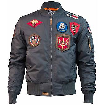 Top Gun MA 1 Nylon Bomber Jacket with Patches Grey