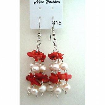 De perles de corail et perles d'eau douce w / perles de verre boucles d'oreilles pendantes