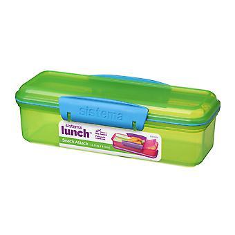 Sistema 410ml Two Compartment Snack Attack Box, Green