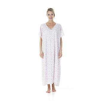 Ladies One Size Kaftans Ditsy floral Lace Edging Full Length 12-24 Pink