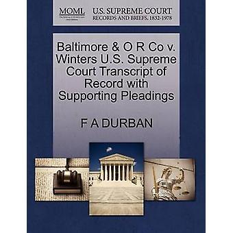 ボルティモア・ O ・ R の冬の米国最高裁判所記録嘆願ダーバンおよび F A によるサポートの成績証明書