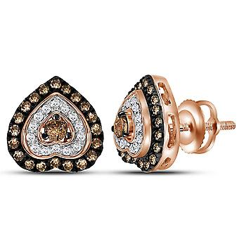 3/5 Carat (ctw I1) Cognac Champagne and White Diamond Heart Stud Earrings in 10K Rose Pink Gold