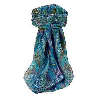 Pañuelo cuadrado de seda tradicional de Mora Vayvia Aqua por Pashmina y seda