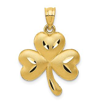 14k Yellow Gold Satin Open back Sparkle Cut Textured back Shamrock Charm Pendant Necklace Measures 24x16mm Jewelry Gifts