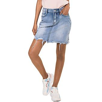 Ladie's Jeans Skirt Frayed Destroyed Midi Skirt Mini Skirt Open Hem Denim Skinny