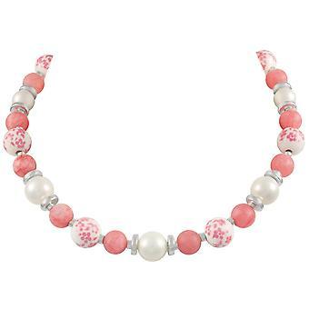 الأبدية جمع ميدو المرجان الوردي الفضة لهجة قلادة الخرز