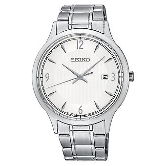 Mens Quartz Movement Stainless Steel Bracelet Watch with White Dial (SGEH79P1)