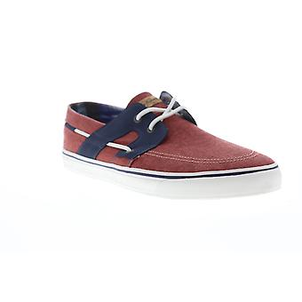 Tommy Bahama Stripes Asunder  Mens Red Canvas Deck Casual Boat Shoes