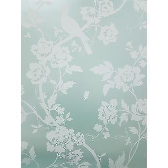 Mint Green Floral Wallpaper Birds Metallic White Fine Decor Chinoiserie