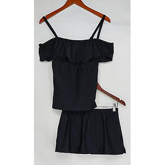 Isaac Mizrahi Live! Swimsuit Convertible Tankini w/Swim Skirt Black A303187