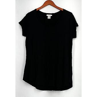 OSO Casuals Top Short Sleeve Lace Up Back Knit Black Womens A408363