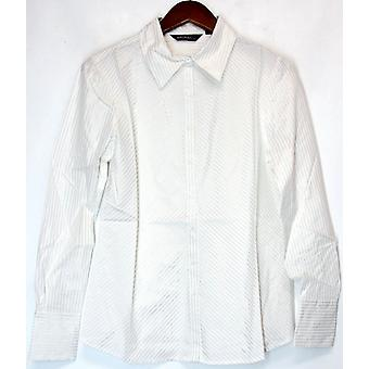 Elisabeth Hasselbeck for Dialogue Button front Shirt Metallic White A89248