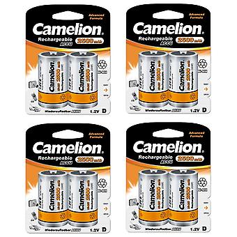 8x Camelion rechargeable D Batteries NiMH HR20 LR20 2500mAh battery