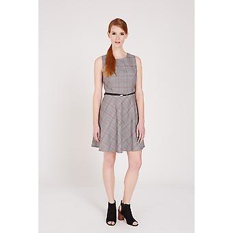 Louche McKenna Houndstooth Belted Dress Grey