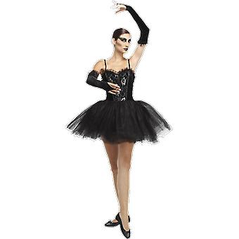 Womens Black Swan Gothic Ballerina Halloween Fancy Kleid Kostüm