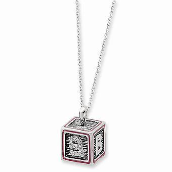 925 Sterling Silver Spring Ring Rhodium verguld met roze emaille ketting 18 Inch sieraden geschenken voor vrouwen