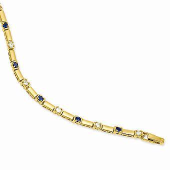 7.5 inch Gold-Flashed gepolijst Gift Boxed vak vangen sluiting blauwe en witte Cubic Zirconia armband