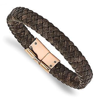 Edelstahl magnetische Verschluss poliert Rose Ip geflochten braun Leder Armband 8,5 Zoll Schmuck Geschenke für Frauen