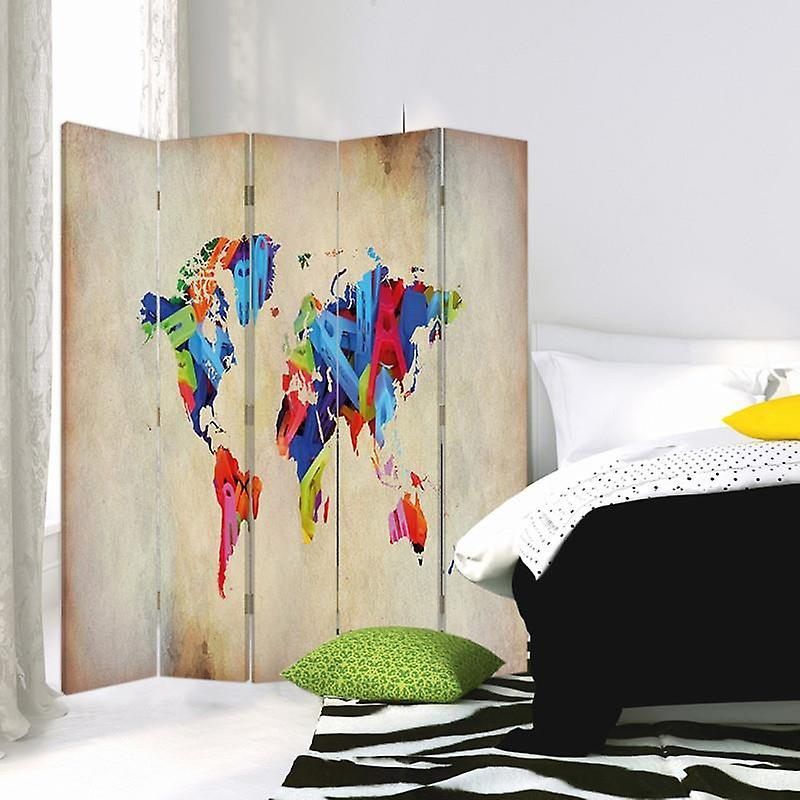 Diviseur de chambre, 5 panneaux, double-sided, 360 rotatable, toile, carte du monde colorée
