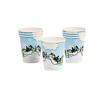 8 Penguin Party Christmas Paper Cups