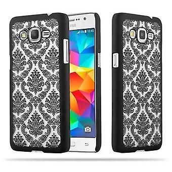 Samsung Galaxy GRAND PRIME Hardcase Case in BLACK by Cadorabo - Floral Paisley Henna Design Protective Case – Phone Case Bumper Back Case Cover