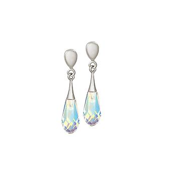 Eternal Collection Prism Aurora Borealis Crystal Drop Silver Tone Screw Back Clip On Earrings