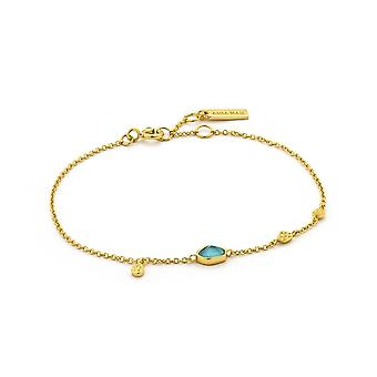 Ania Haie Sterling Silver Shiny Gold Plated Turquoise Discs Bracelet B014-01G