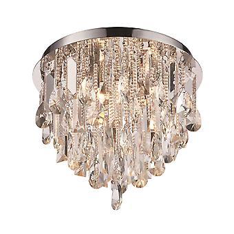 Endon Siena 3 Light Flush Chrom, Kristall (K5) Glas 76341