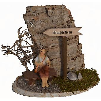 Crib accessories Crib set Bethlehem shield and bench with shepherd with shrub in front of cork rocks from tree bark
