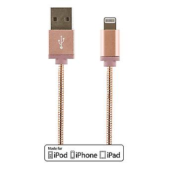 STREETZ IPLH-272 USB-sync/Charging cable metal, MFi Lightning 1m