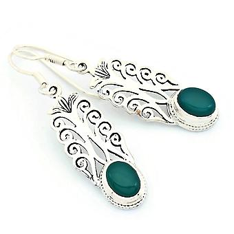 Grüner Onyx Ohrhänger 925 Silber Sterlingsilber Ohrringe grün (KLE-OH-165)