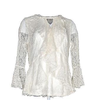 Isaac Mizrahi Live! Kvinner ' s topp Chantilly blonder ruffle bluse elfenben A343391
