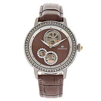 Empress Tatiana Automatic Semi-Skeleton Leather-Band Watch - Brown